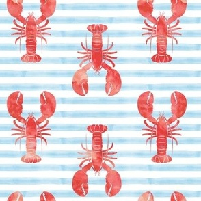 lobsters - red on blue stripes