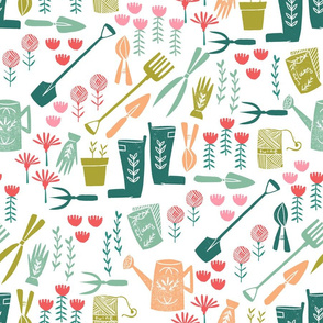 Spring in the Garden - Linocut pattern by Andrea Lauren