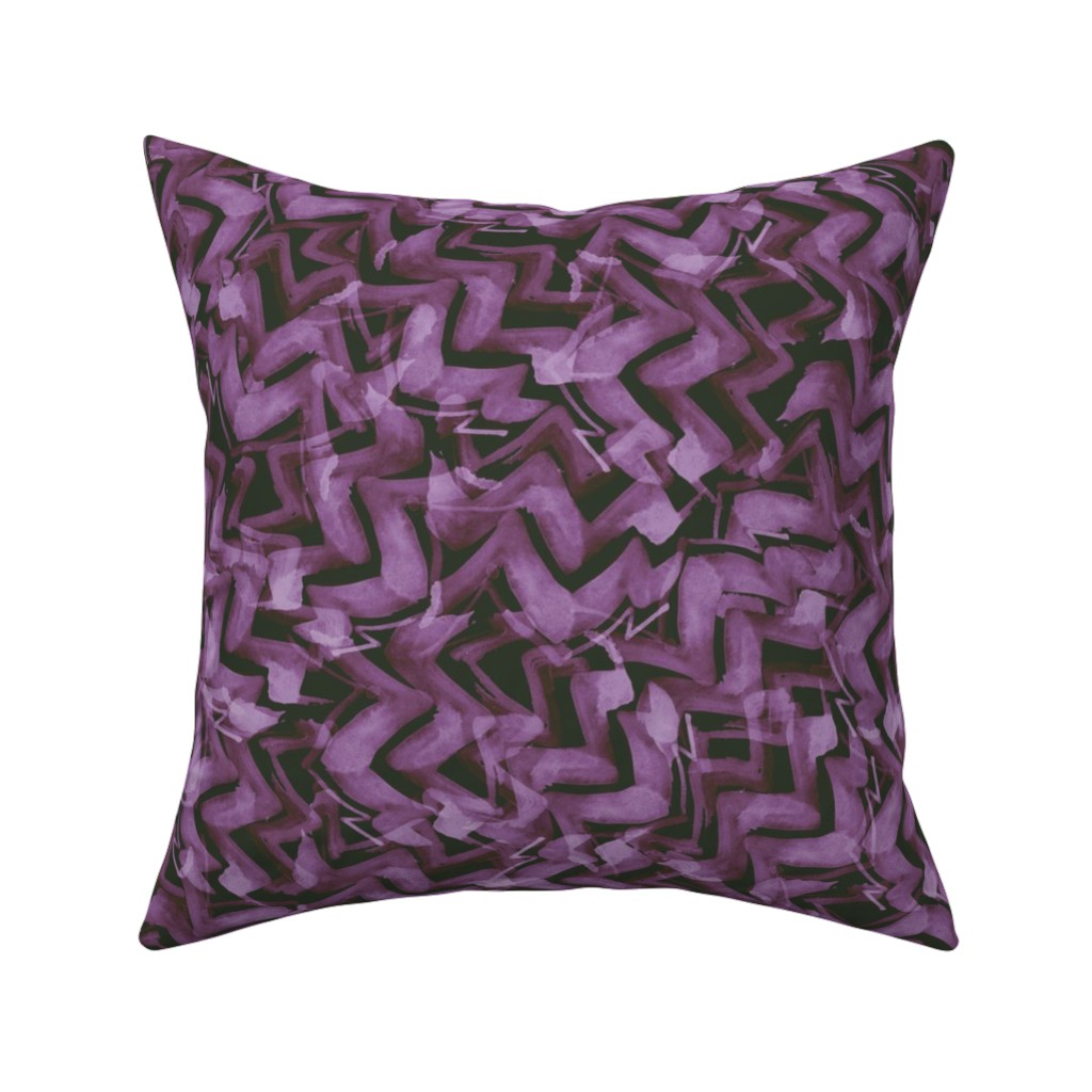 Catalan Throw Pillow featuring zag_watercolor purple by wren_leyland