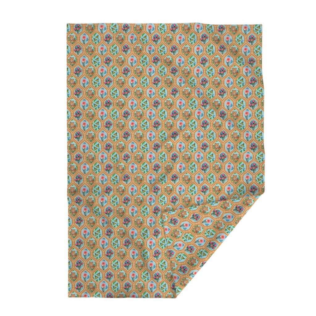Lakenvelder Throw Blanket featuring Tiger Ogee, lovebirds & Blue morpho butterflies by magentarosedesigns
