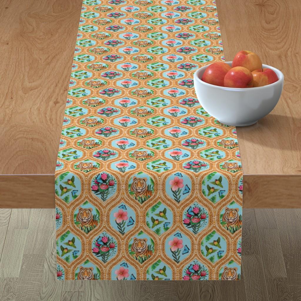 Minorca Table Runner featuring Tiger Ogee, lovebirds & Blue morpho butterflies by magentarosedesigns