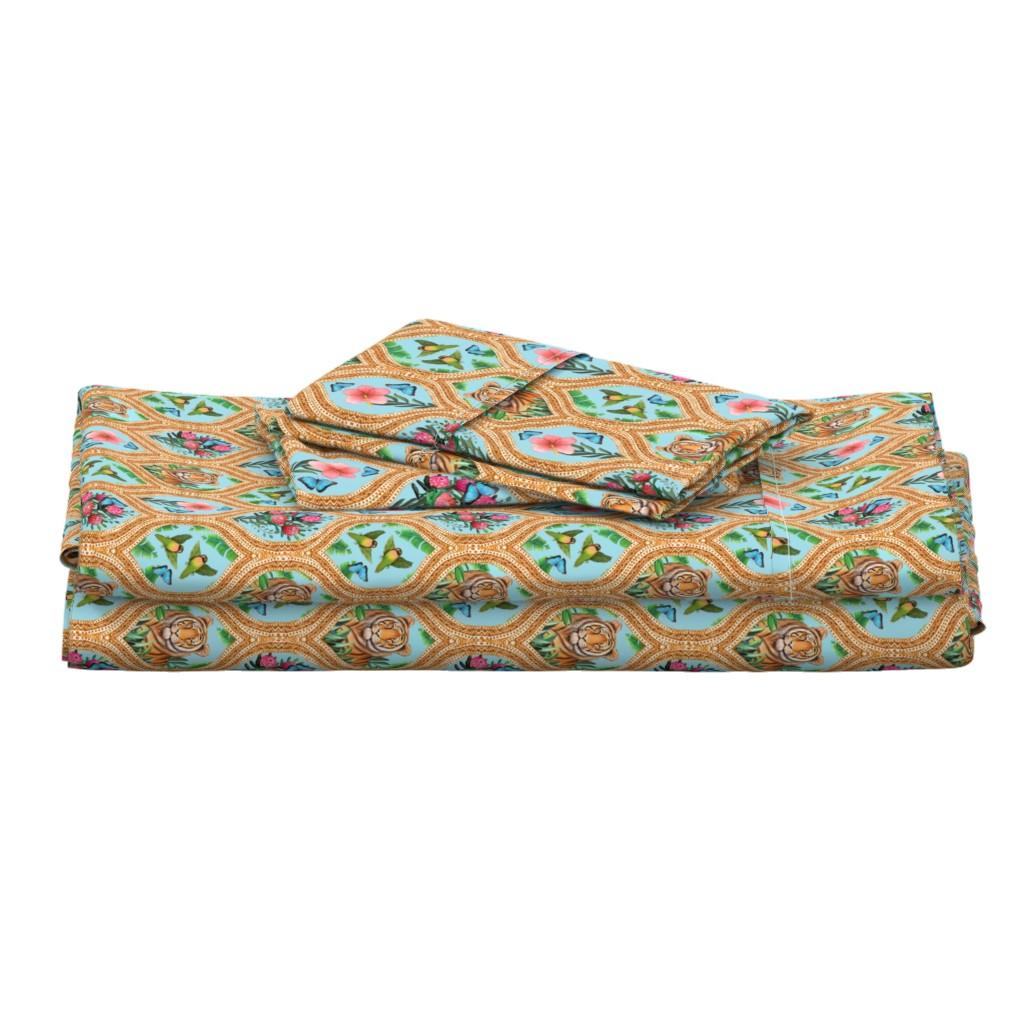 Langshan Full Bed Set featuring Tiger Ogee, lovebirds & Blue morpho butterflies by magentarosedesigns