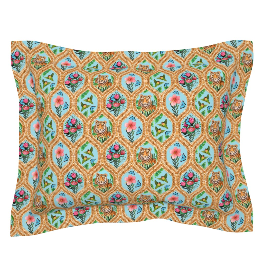 Sebright Pillow Sham featuring Tiger Ogee, lovebirds & Blue morpho butterflies by magentarosedesigns