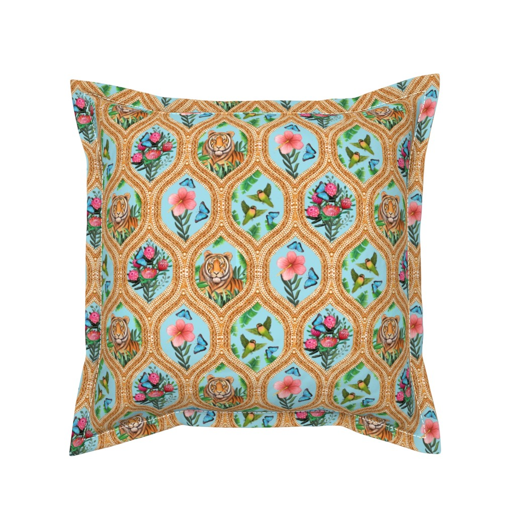 Serama Throw Pillow featuring Tiger Ogee, lovebirds & Blue morpho butterflies by magentarosedesigns
