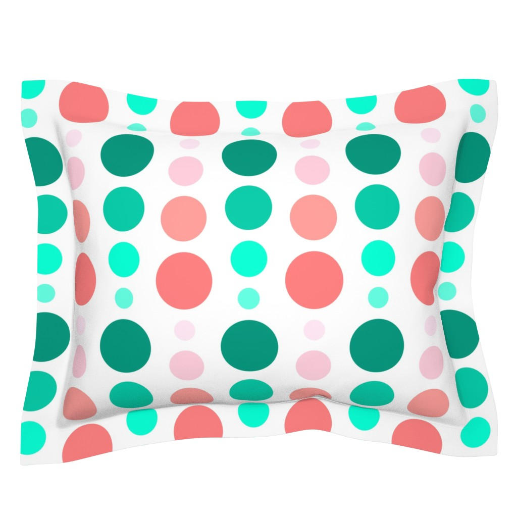 Sebright Pillow Sham featuring Coral Pink & Emerald Mint Green Ombre Spots by cjohnson_art&design