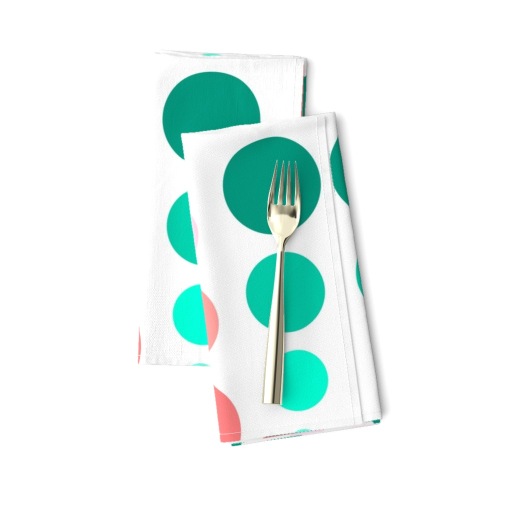 Amarela Dinner Napkins featuring Coral Pink & Emerald Mint Green Ombre Spots by cjohnson_art&design