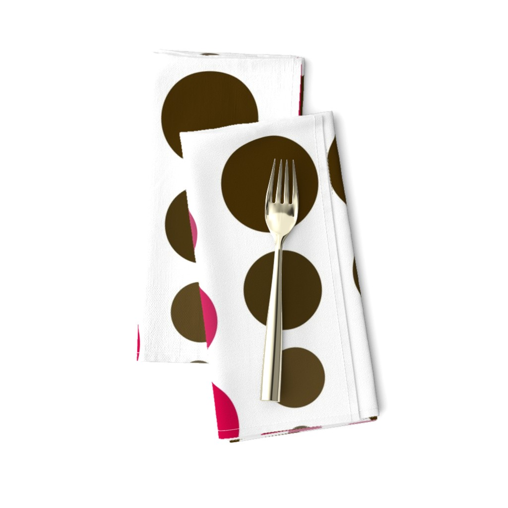 Amarela Dinner Napkins featuring Brown Sepia & Fuchsia Red Ombre Spots by cjohnson_art&design