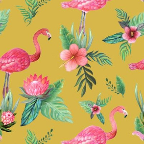 flamingo dream garden // tropical floral on mustard yellow