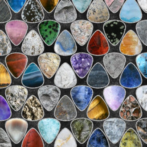 Rockin' Rocks - silver Geology Guitar picks large