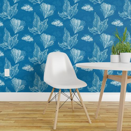 Surprising Wallpaper Ocean Flora In Cerulean Blue Gmtry Best Dining Table And Chair Ideas Images Gmtryco