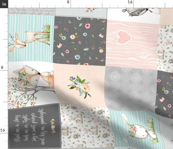 Fabric By The Yard Woodland Friends Nursery Patchwork Quilt Rotated Wholecloth Deer Fox Rac Bunny Grey Blush Gingerlous