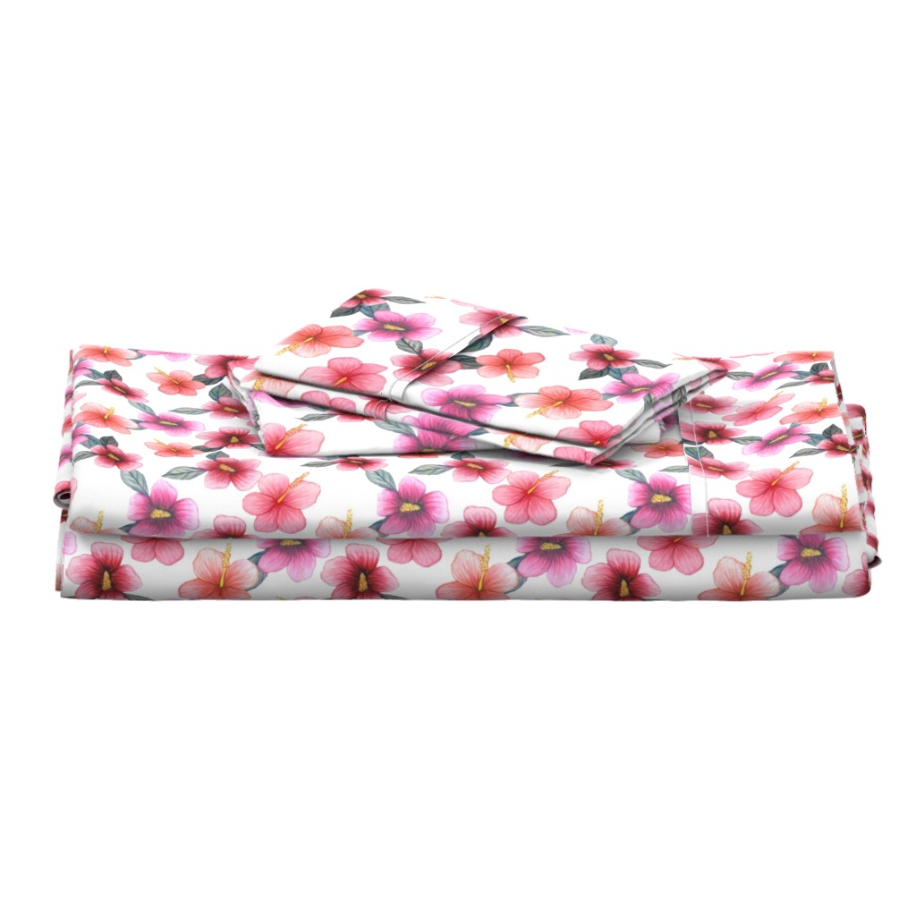Langshan Full Bed Set featuring Watercolor floral // hibiscus flowers on white by magentarosedesigns