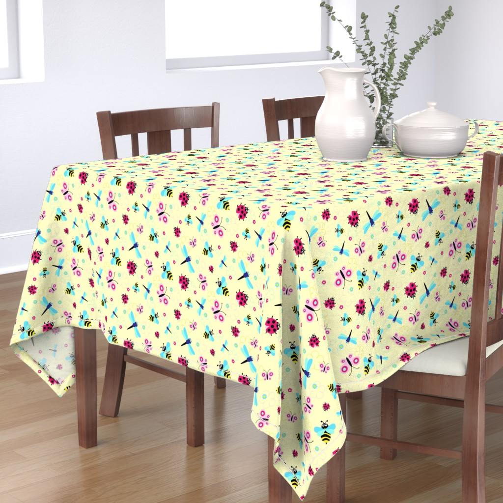 Bantam Rectangular Tablecloth featuring Garden Bugs by vintage_style