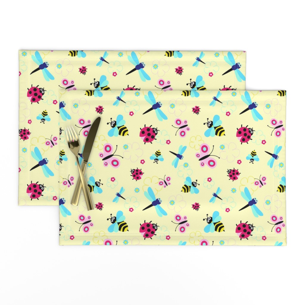 Lamona Cloth Placemats featuring Garden Bugs by vintage_style