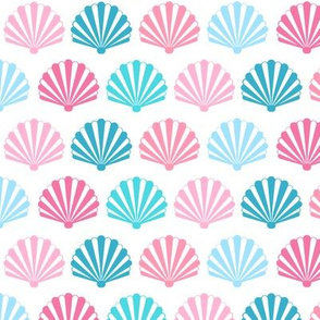 Seashell // Art Deco Shells pink and teal on white