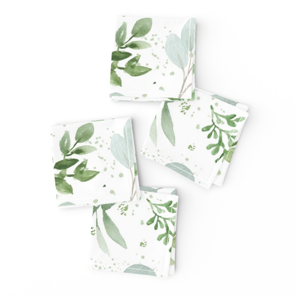 Frizzle Cocktail Napkins featuring SEAMLESS watercolor Larger leaves Pattern-1 by daily_miracles