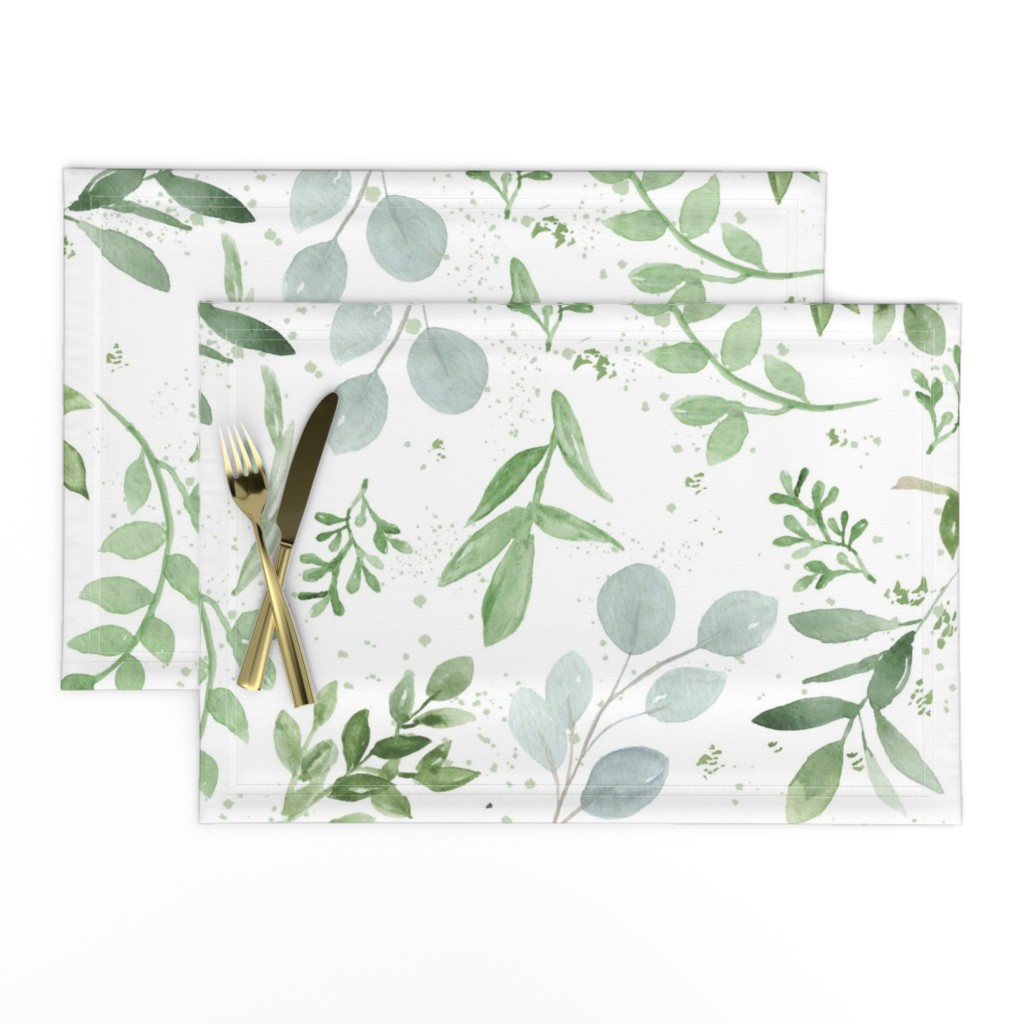 Lamona Cloth Placemats featuring SEAMLESS watercolor Larger leaves Pattern-1 by daily_miracles