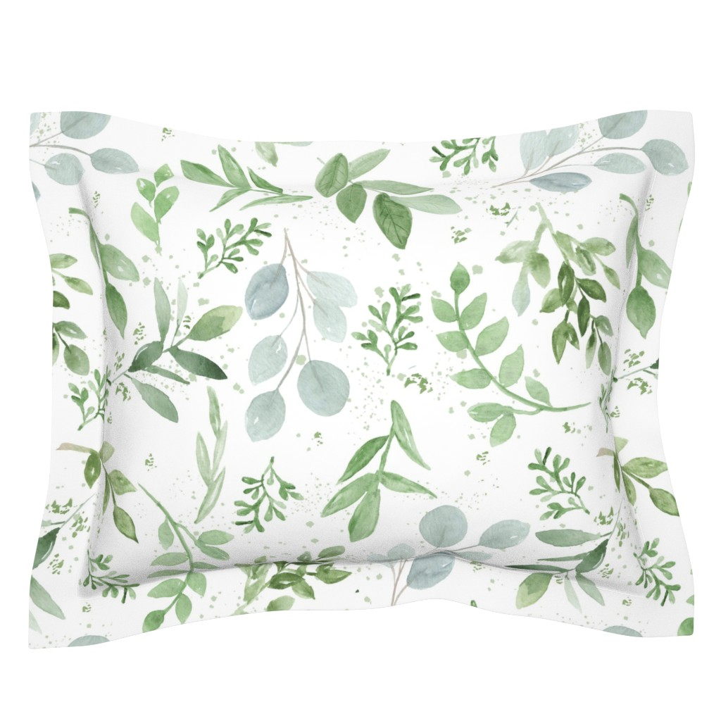 Sebright Pillow Sham featuring SEAMLESS watercolor Larger leaves paper-1 by daily_miracles