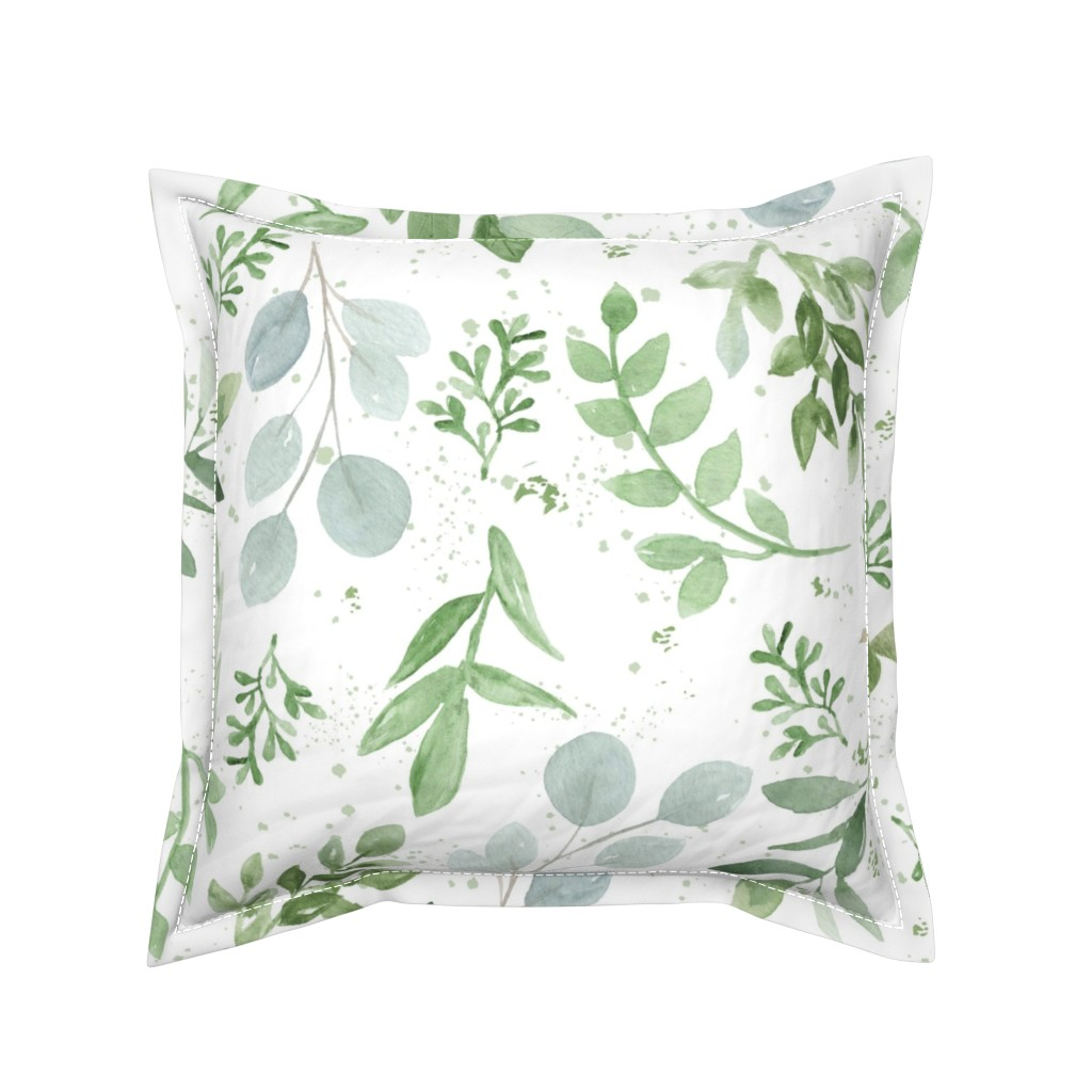 Serama Throw Pillow featuring SEAMLESS watercolor Larger leaves Pattern-1 by daily_miracles
