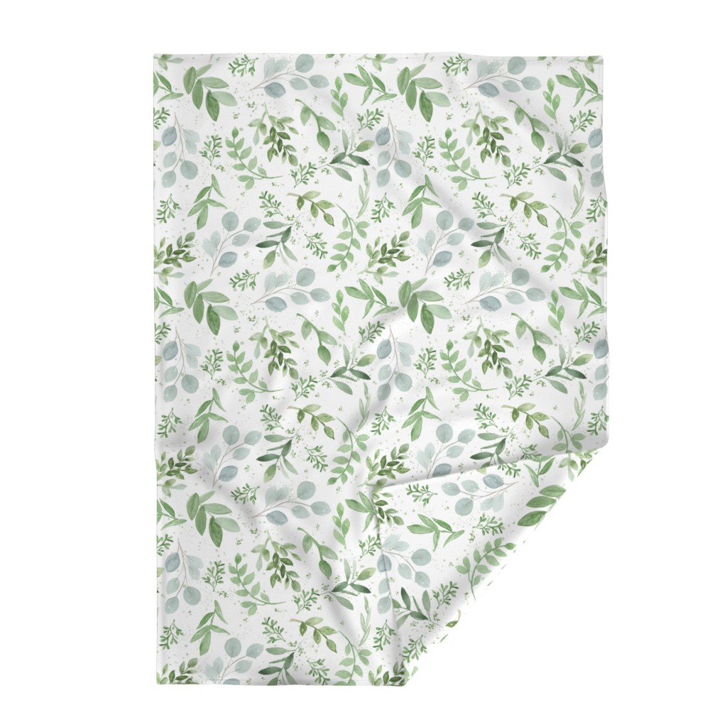 Lakenvelder Throw Blanket featuring SEAMLESS watercolor Larger leaves Pattern-1 by daily_miracles