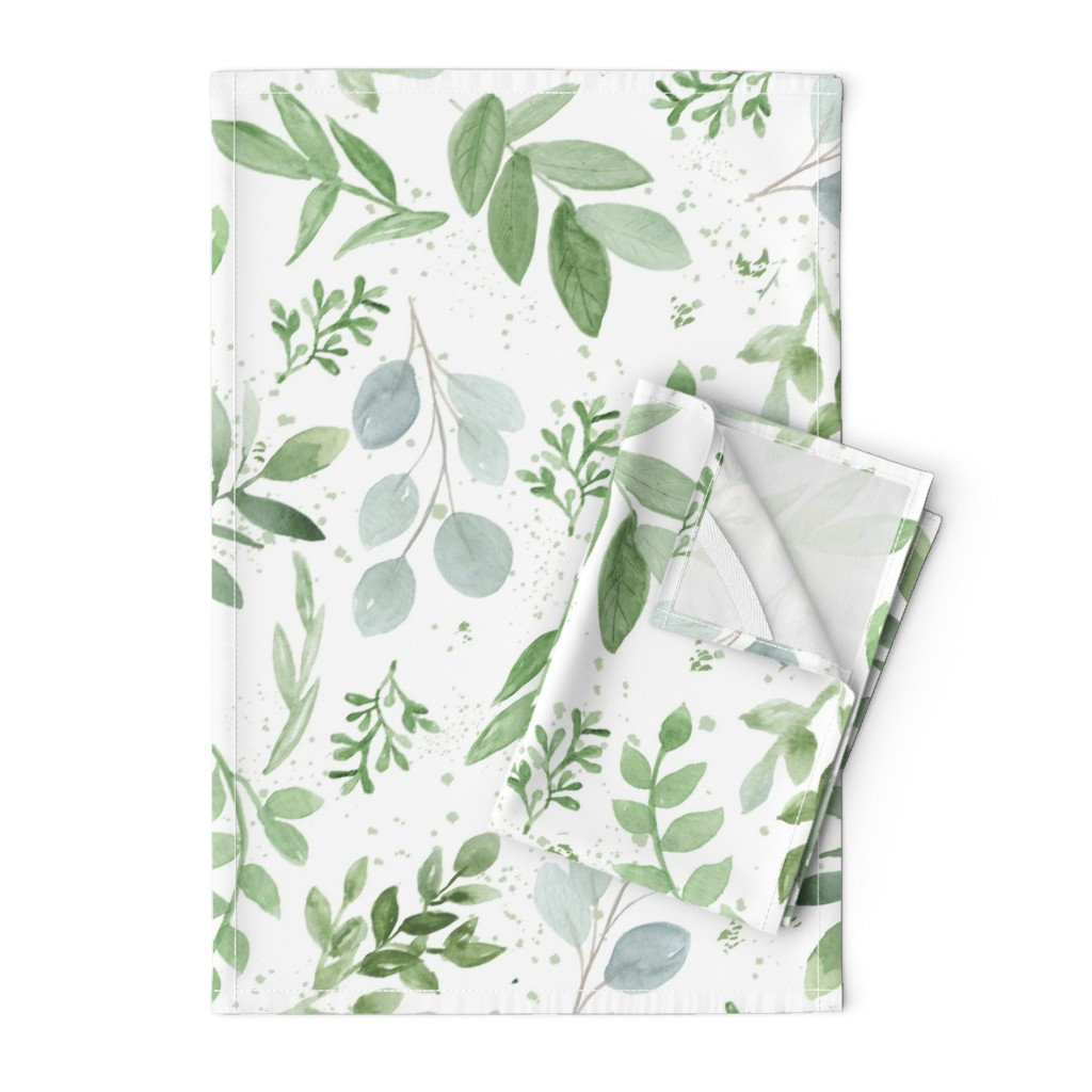 Orpington Tea Towels featuring SEAMLESS watercolor Larger leaves Pattern-1 by daily_miracles