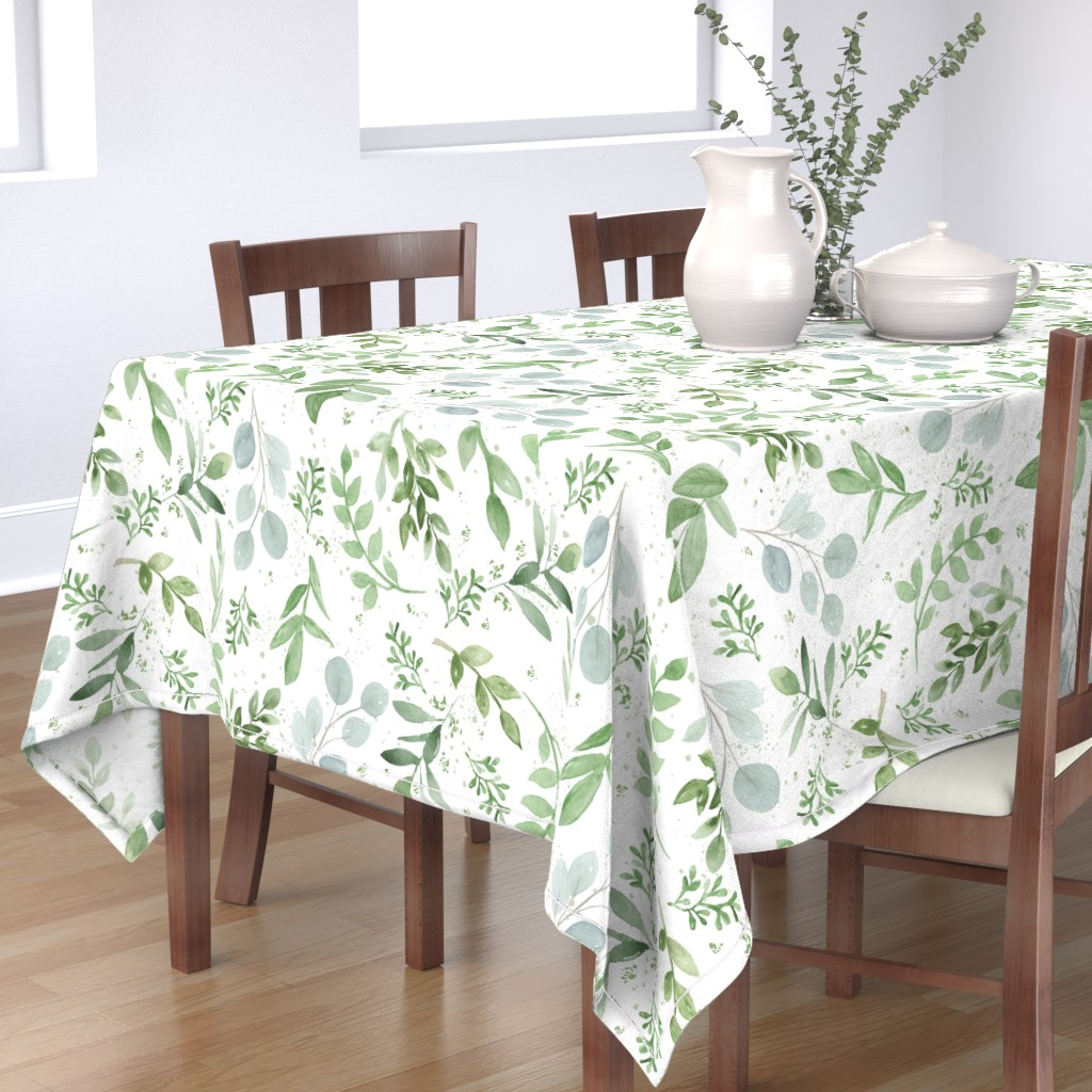 Bantam Rectangular Tablecloth featuring SEAMLESS watercolor Larger leaves Pattern-1 by daily_miracles