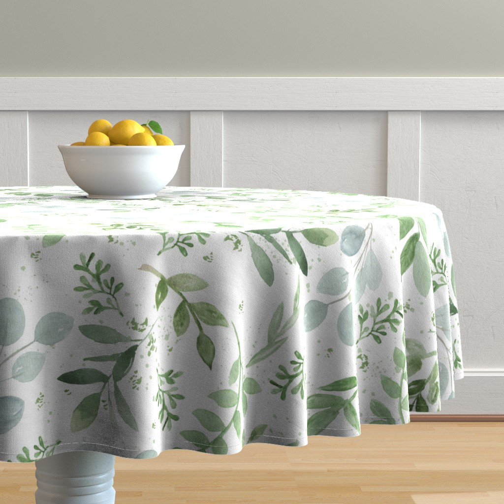 Malay Round Tablecloth featuring SEAMLESS watercolor Larger leaves Pattern-1 by daily_miracles
