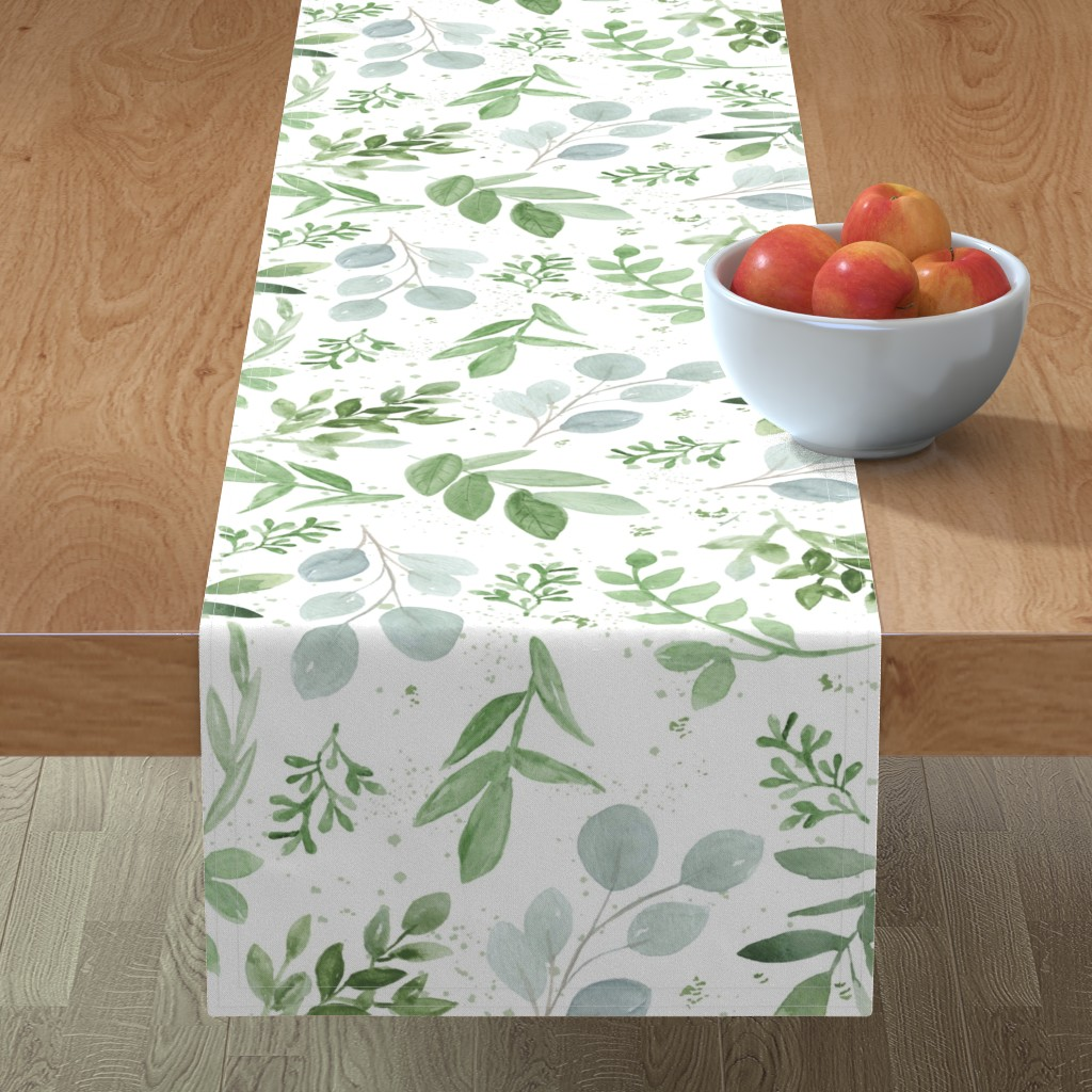 Minorca Table Runner featuring SEAMLESS watercolor Larger leaves paper-1 by daily_miracles