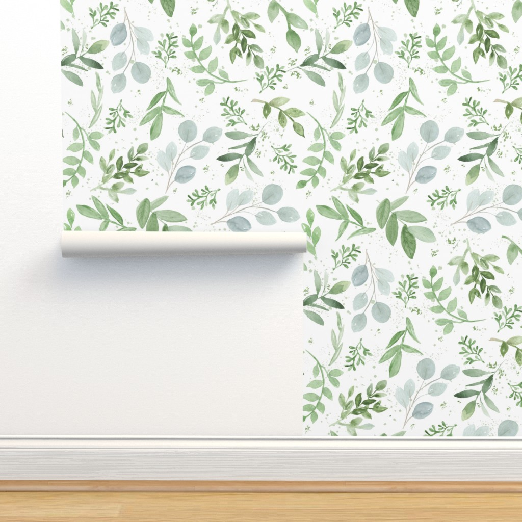 Isobar Durable Wallpaper featuring SEAMLESS watercolor Larger leaves Pattern-1 by daily_miracles