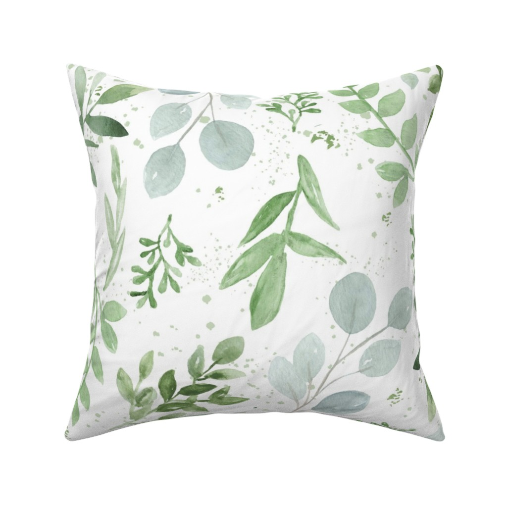 Catalan Throw Pillow featuring SEAMLESS watercolor Larger leaves paper-1 by daily_miracles