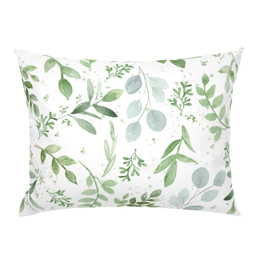 Campine Pillow Sham featuring SEAMLESS watercolor Larger leaves Pattern-1 by daily_miracles