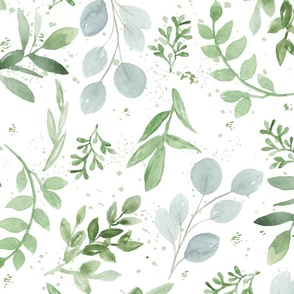 SEAMLESS watercolor Larger leaves Pattern-1
