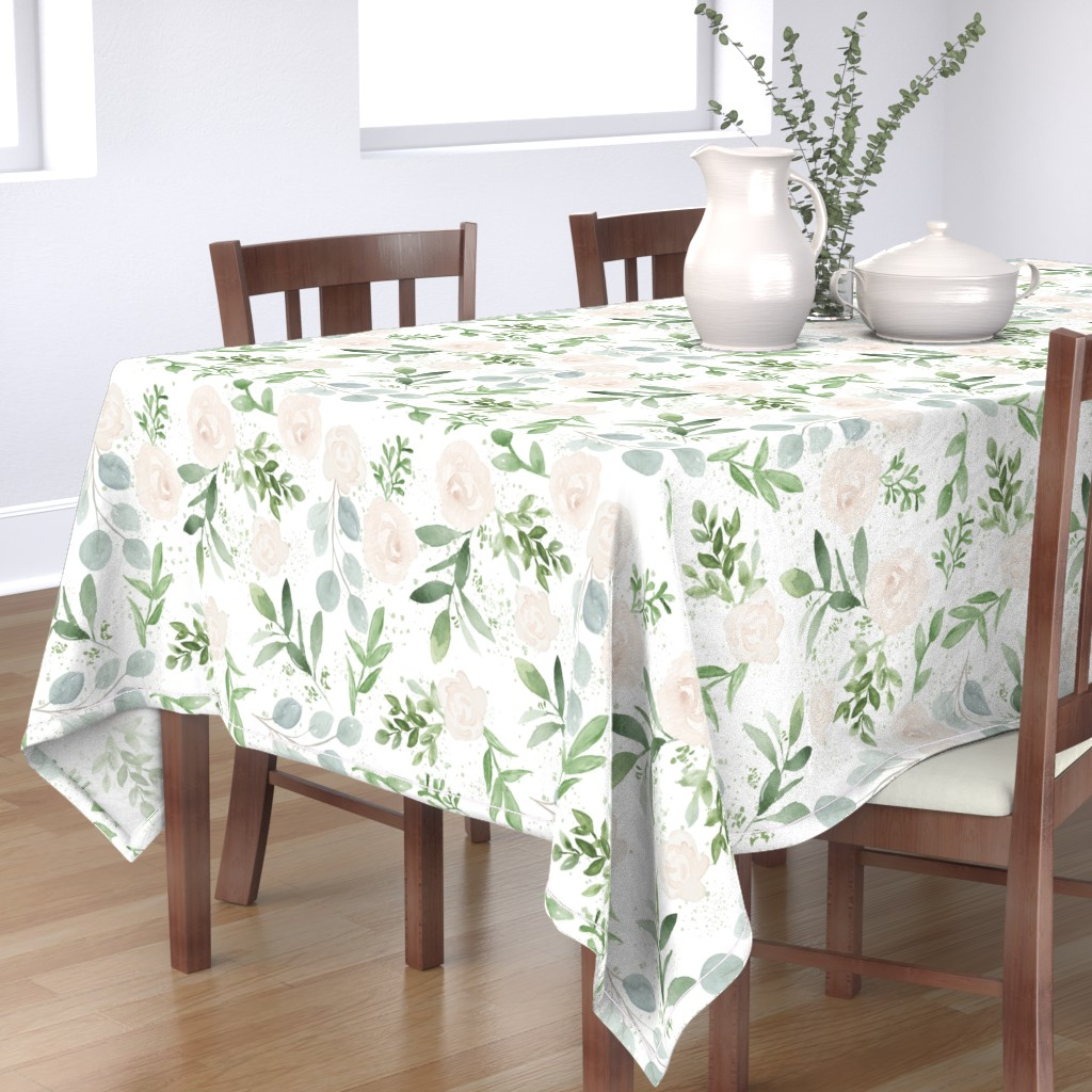 Bantam Rectangular Tablecloth featuring SEAMLESS watercolor Larger flower paper by daily_miracles