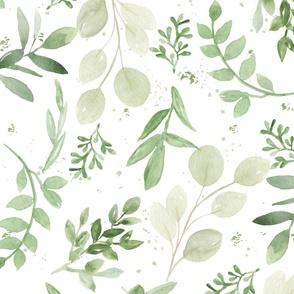 Warmer Tones Watercolor Larger Leaves Pattern