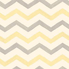 Yellow, Gray and Cream Watercolor Chevrons