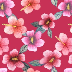 Watercolor floral // hibiscus flowers on burgundy