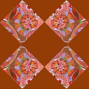 Art Nouveau blossums on diagonal checkerboard
