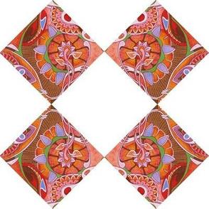 Diagonal Floral Squares (white background)