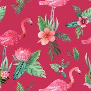 Watercolor flamingo on red // flamingo dream garden