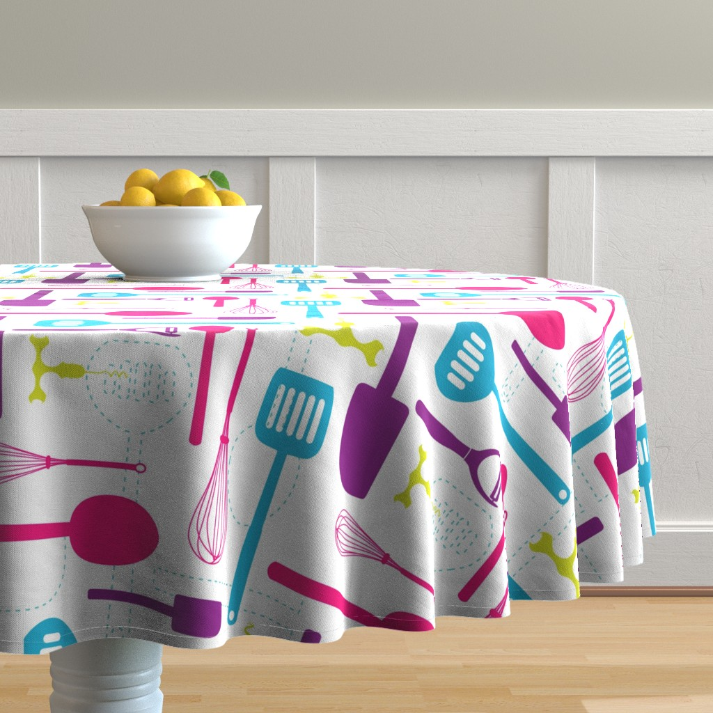 Malay Round Tablecloth featuring Kitchen Utensils in Multicolour  by denisecolgan