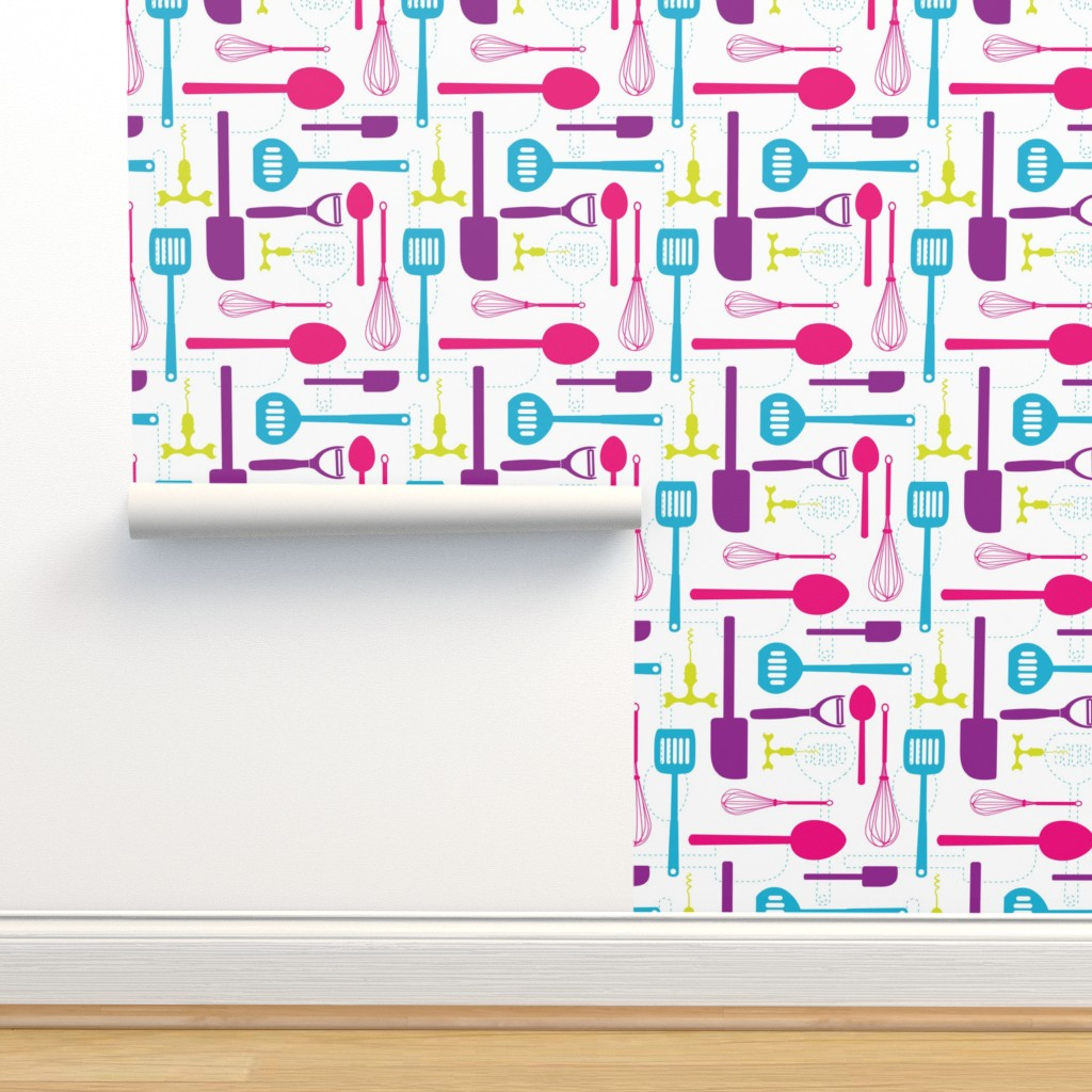 Isobar Durable Wallpaper featuring Kitchen Utensils in Multicolour  by denisecolgan