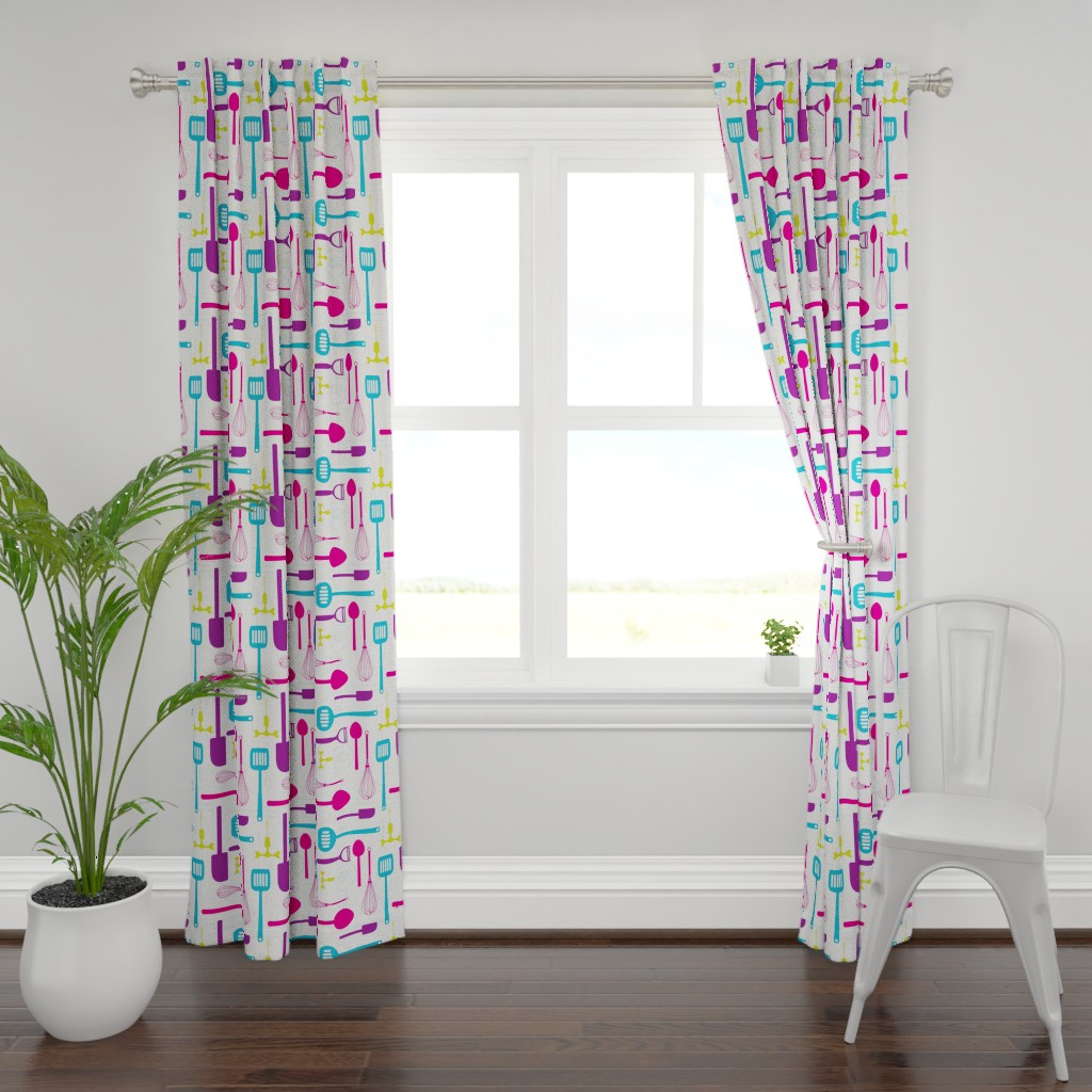 Plymouth Curtain Panel featuring Kitchen Utensils in Multicolour  by denisecolgan