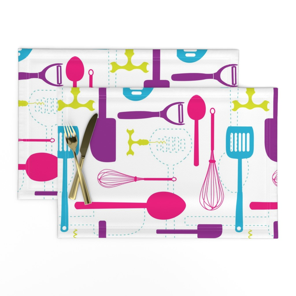 Lamona Cloth Placemats featuring Kitchen Utensils in Multicolour  by denisecolgan