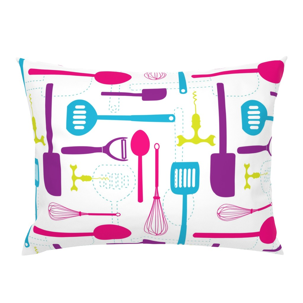 Campine Pillow Sham featuring Kitchen Utensils in Multicolour  by denisecolgan