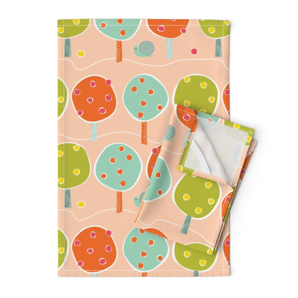 Orpington Tea Towels featuring Gardening snail by Mount Vic and Me by mountvicandme