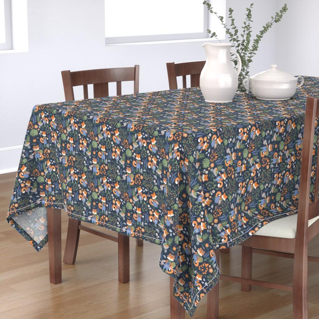 Bantam Rectangular Tablecloth featuring The foxy gardener // small scale // orange foxes by selmacardoso