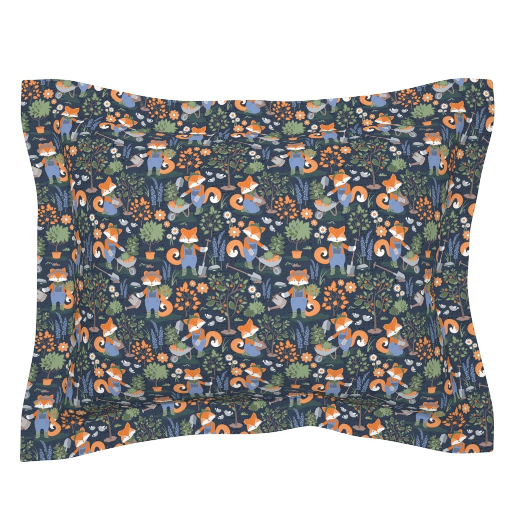 Sebright Pillow Sham featuring The foxy gardener // small scale // orange foxes by selmacardoso