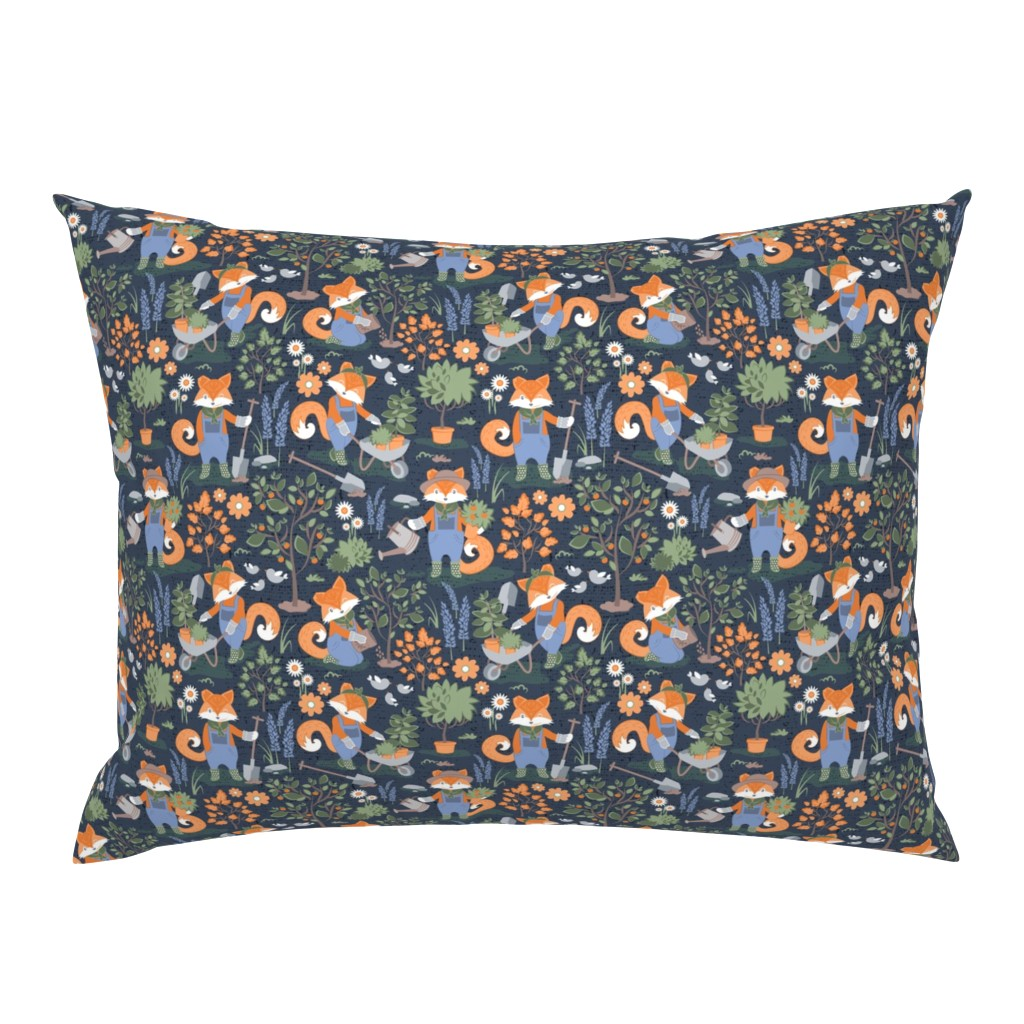 Campine Pillow Sham featuring The foxy gardener // small scale // orange foxes by selmacardoso