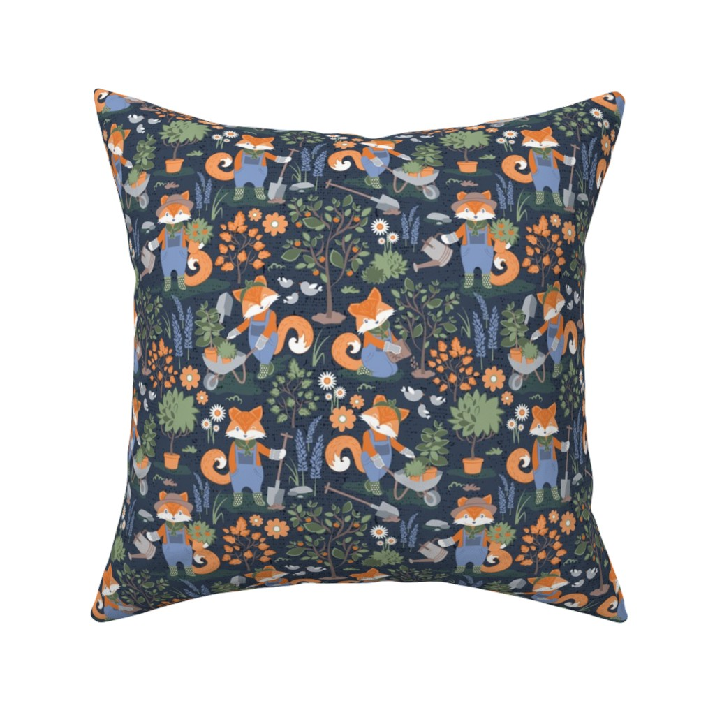 Catalan Throw Pillow featuring The foxy gardener // small scale // orange foxes by selmacardoso