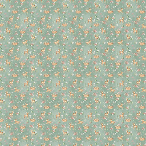 Super Small - Baby Deer with flowers  green/ Woodland Deer / Forest Animals/ Nursery Fabric
